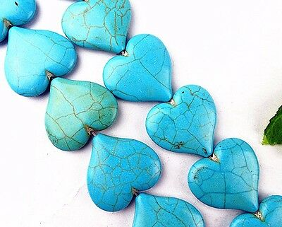 8 Mm Turquoise Heart - 15.5inch 33x34x8mm Beautiful blue Turquoise heart Loose bead BA3798