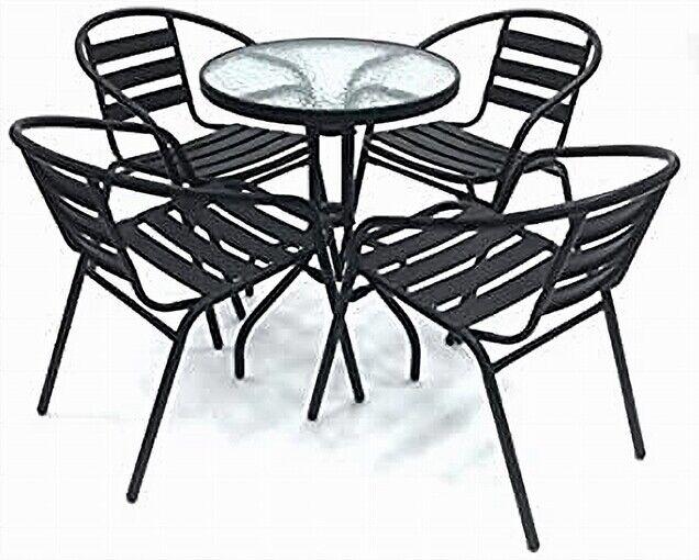 Garden Furniture - Garden Furniture Set 4 Black Steel Chairs & 1 Round Glass Table, Patio Set