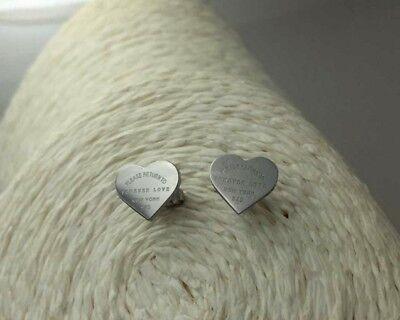 Heart Titanium Earrings - Titanium Stainless Steel Silver Forever Love Heart Cut Stud Earrings Gift PE14