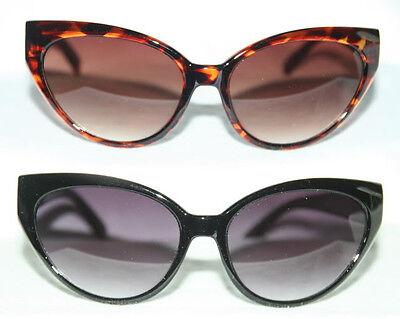 Cat Eye Sonnenbrille 50er Jahre Klarglas Pinup Rockabilly schwarz o. leopard 317