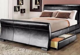 DESIGNER BLACK PU LEATHER 4 PULL OUT DRAWER BED FRAME KING DOUBLE SIZE 135 150CM 4FT6 5FT FLAT PACK