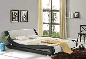 Modern Double Bed Brand New Black & White