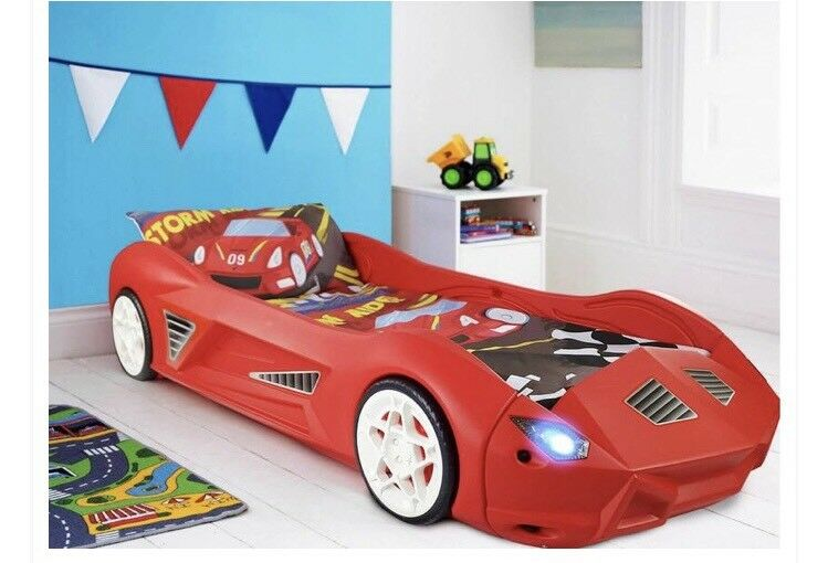 Storm Racing Car Red Toddler Bed With Led Lights And