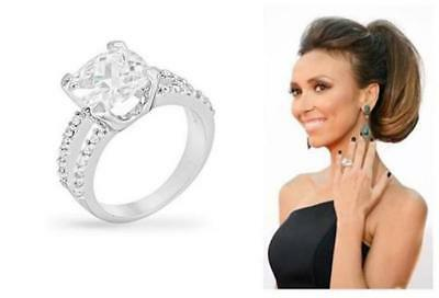 8 TCW Cushion Cut Solitaire CZ Double Band Bridal Engagement Cocktail Ring (Cushion Cut Cocktail Ring)