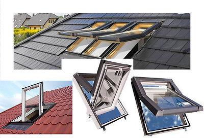 PVC Kunststoff Dachfenster SKYFENSTER 66x98 mit Eindeckrahmen + Versand Gratis !