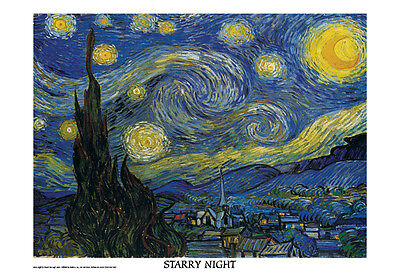 """Vincent Van Gogh art poster 24 x 36"""" Starry Night With White Border Print"""