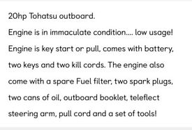 13ft dell quay dory-20hp tohatsu outboard