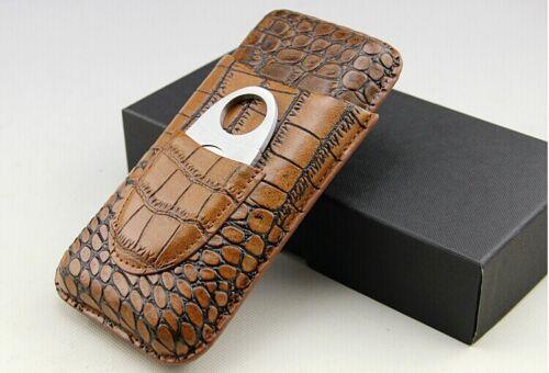 Cohiba 3 Tube Crocodile Embossed  Leather Cigar Case Travel Holder w/Cutter