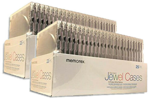 50-Pak 1CD 10.4mm Single Jewel Cases (assembled, black tray), by Memorex