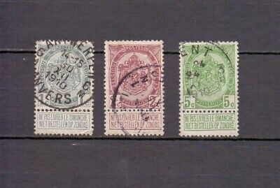 BELGIUM 1907 COAT OF ARMS SET  FINE USED 81/83