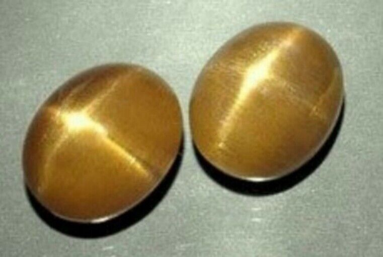 CATS EYE SUNSTONE 7 x 5 MM OVAL CUT CABOCHON 3 PIECE SET ALL NATURAL