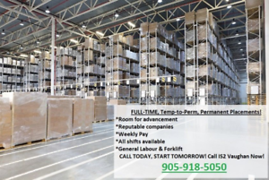 Light General Labour & Warehouse Work! Call Today, Start ASAP!