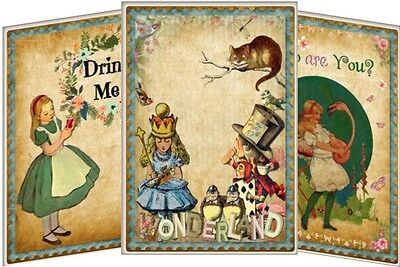 Alice in Wonderland party table tent cards decoration set of 8 tea party, weddin