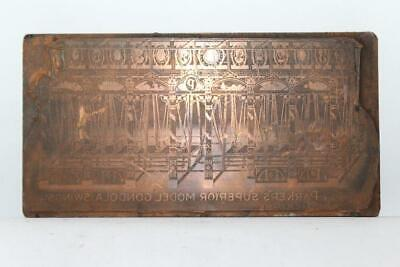 Vtg 1921 Letterpress Wood Copper Metal Printer Block Parkers Gondola Swings