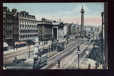 Ireland DUBLIN Sackville St GPO Trams early PPC