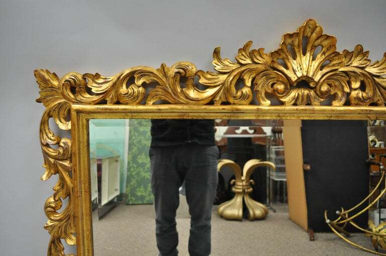 Harrison & Gil Dauphine Large Gold Giltwood Italian Baroque French Style Mirror