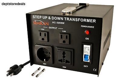 Voltage Converter Step Up or Down Transformer 110V/120V to 220V/240V 3000 Watts