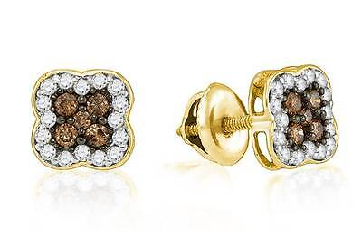 10K Yellow Chocolate Brown Diamond Earrings Four Petal Flower Cluster Halo .50ct