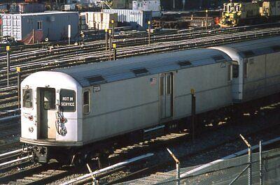 NYCTA slide. Pair of Kawasaki electric subway work engines. 38th Street yard