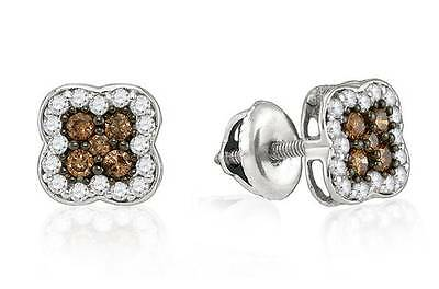 10K White Chocolate Brown Diamond Earrings .50ct Four Petal Flower Cluster Studs