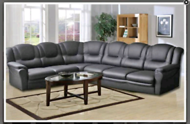 Black 7 seater Leather Corner Sofa Sale