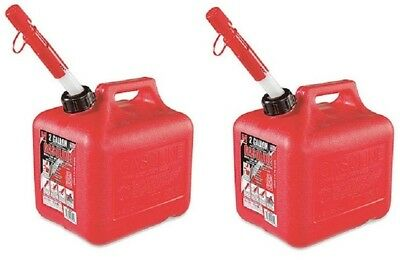 2 Midwest 2300 2 Gallon Red Plastic Gas Fuel Gasoline Cans Containers W Spout