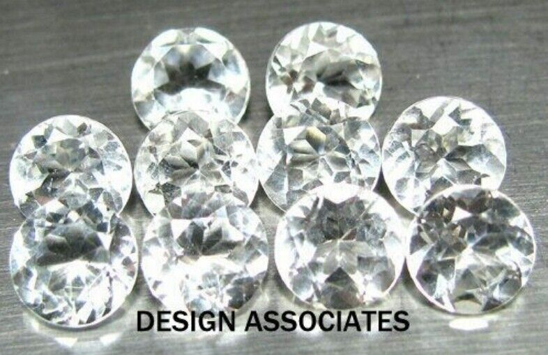 WHITE ZIRCON 6 MM ROUND CUT ALL NATURAL BEAUTIFUL COLOR AAA
