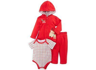 Weihnachten~USA~62-68~Jacke+Hose+Body~Anzug~Spruch~Santa's helper~Rentier~Kapuze ()
