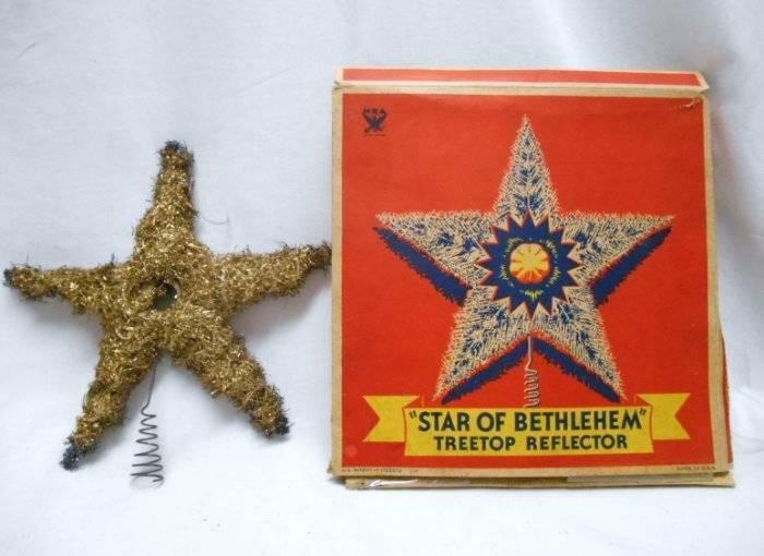 Antique CHRISTMAS Tree Top STAR OF BETHLEHEM TINSEL TREE TOPPER w BOX