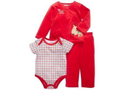 Weihnachten~USA~74-80~Jacke+Hose+Body~Anzug~Spruch~Santa's helper~Rentier~rot ()