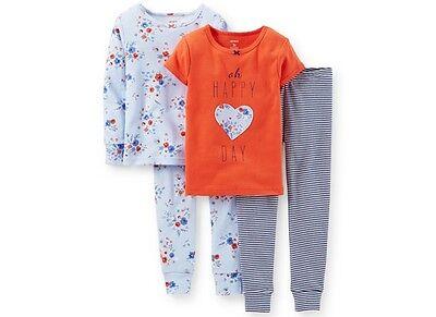 NWT Carter's  sz 4 Kids Girls Toddler Baby 4-Piece Oh Happy Day Pajamas