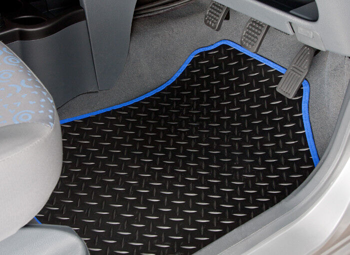 UNIVERSAL CAR FLOOR MATS BLACK WITH BLUE TRIM FOR DACIA SANDERO DUSTER LOGAN