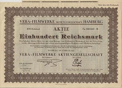 VERA - Film Werke AG Hamburg hist Aktie 1925 + Kupons Alsterdorf Kino kein Barov
