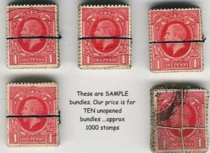 GB-KG5th-1934-PHOTOGRAVURE-1d-1000-stamps-Vintage-Kiloware-Bundles-x10
