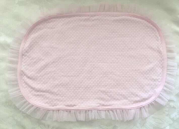 Baby Aspen Pink White Lovey Baby Security Blanket Tulle Trim