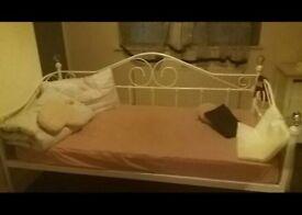 Singel bed metal frame with matteras JYSK, glass balls on the corners