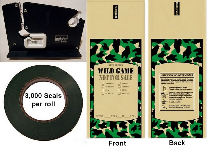 Poly Ground Meat Packaging Kit - Poly Wild Game Bags (50 ea.), Bag Sealer & Tape