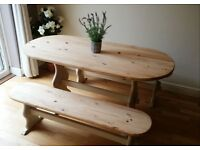 Shabby chic dining table and 2 benches, solid pine
