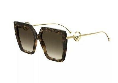 Fendi F Is Fendi FF 0410/S 086 Havana Gold Brown Gradient Large Women Sunglasses