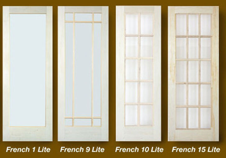 1 Lite 10 Lite or 15 Lite Stain Grade Poplar Solid Core French Clear Glass Doors