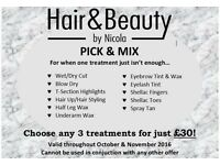 Hair And Beauty By Nicola - Pick & Mix - 3 treatments £30!