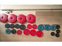 Weights Plates and Bar (40kgs total)