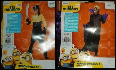 NEW Boy's Minion Pirate OR Dracula Costume Size Small (4-6) NWT - FREE SHIPPING (Minion Boy Costume)