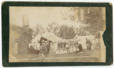 1890s Outdoor Cab Card of Garden Party w People, Dog, Japanese Lanterns, Tents ()