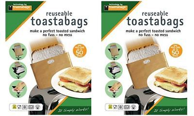 4 X TOASTABAGS REUSABLE TOASTER TOAST TOASTED SANDWICH BAGS