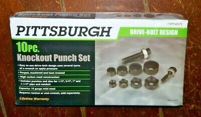 10pc Knockout Punch Set With Case -drive Bolt Design- Model 60575
