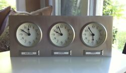 Pottery Barn Around The World 3 Time Zone Desk Mantel Wall Clock Silver
