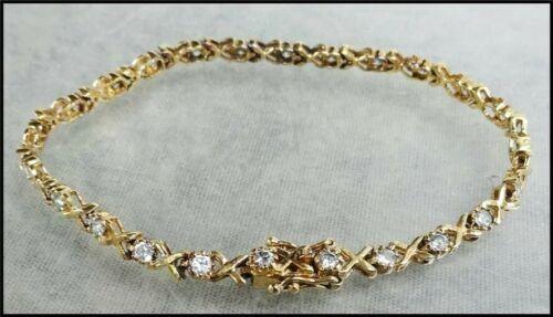 Vintage Vermeil Gold Over Sterling Silver Ross Simons CZ Crystal Tennis Bracelet