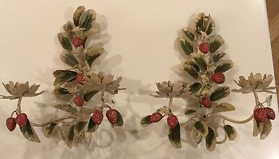 Pair Of Shabby Chip Italian Tole Two Candle Sconces With Leaf Flowers And Berrie