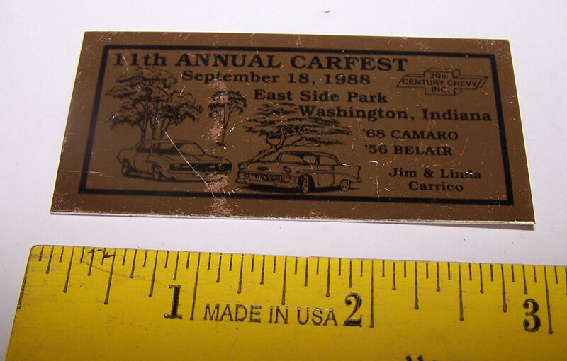 1988 11th Annual Carfest WASHINGTON INDIANA Dash Plaque / Plate CARRICO